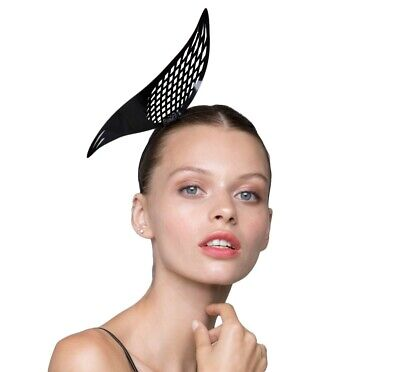 Metal Jet black Laser cut Crown Fascinator headband melbourne cup modern design