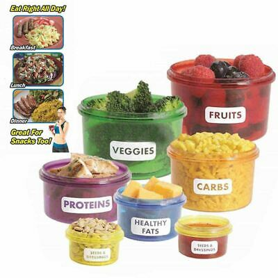 7 x HEALTHY EATING PORTION CONTROL CONTAINERS POTS MARKED WEIGHT LOSS DIET FOOD