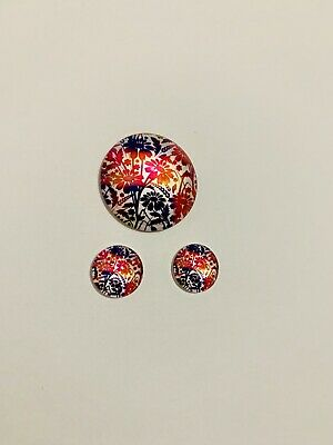 1 X 25mm & 2x12mm Glass Cabochons #788