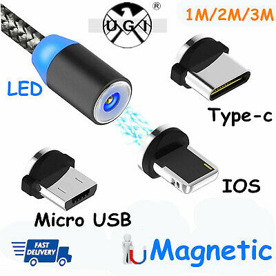 Magnetic Micro USB Type-C IOS Quick Charger Cable For iPhone X 8 7 Apple Samsung