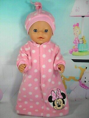 "Dolls clothes for 17"" Baby Born doll~WINKING MINNIE MOUSE PINK/SPOT SLEEPING BAG"