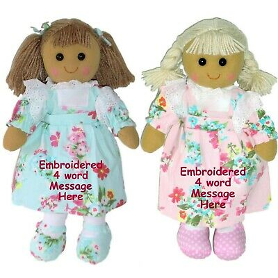 Personalised Rag Doll Birthday New Baby Flower Girl Christening Christmas Gift