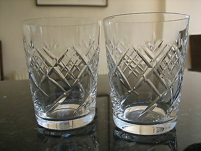 EDINBURGH CRYSTAL TUMBLERS x 2 ED 15 PATTERN SIGNED OLD OVAL MARK EX.CON