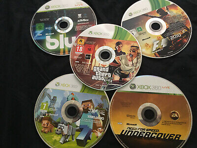 xbox360 bundle, includes minecraft,f1 2010,nfs undercover, blur,gta5 cd2 ONLY