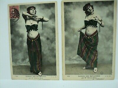 2 CPA CARTES-PHOTOS RPPC BAYADERE MYRIAM HARI ALHAMBRA BELLY DANCER  c. 1907