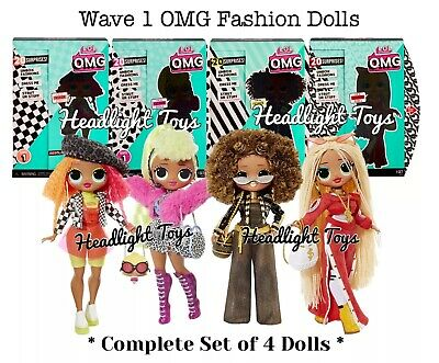 "Set Of 4 LOL Surprise OMG 10"" Fashion Dolls SWAG Lady Diva Royal Bee Neonlicious"
