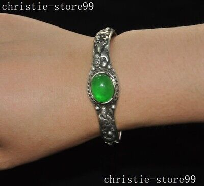 """3""""Old Chinese Silver Inlay green jade Gem classical character Amulet bracelet"""