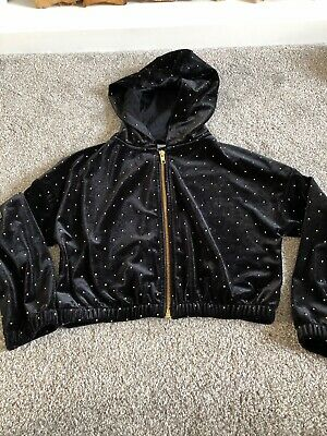 Girls Next Black Studded Velvet Hooded Jacket Zip Up Age 6 Yrs ❤️ New