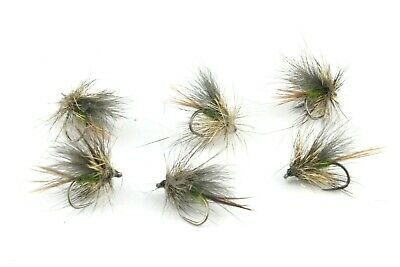 Olive Scruffy, CDC Sedges, Barbless Hooks,Trout, Grayling Dry Flies, Fly Fishing