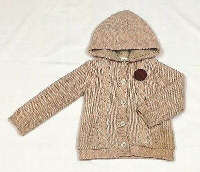 La Redoute Girl's Beige Hooded Cardigan Faux Fur Pockets Braids Buttons Age 4A