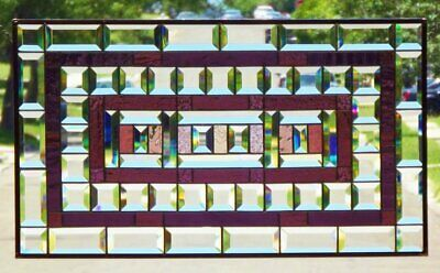 "•Time for Wine •Beveled Stained Glass Window Panel •28 1/2""x16 3/8"""