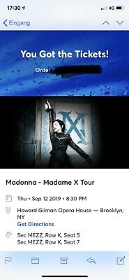 Madonna Madame X Tour Tickets 2 Brooklyn Amerika Mezz Ticket Konzert Show