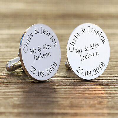 Personalised Silver Cufflinks Groom Mr & Mrs Names Wedding Date Engraved Gift