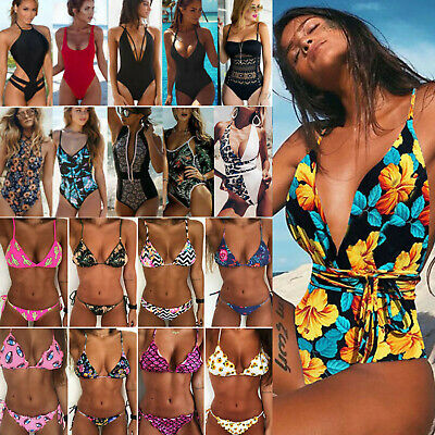 Womens One-Piece Swimsuit Bandage Bikini Push-up Padded Swimwear Bathing suit LX