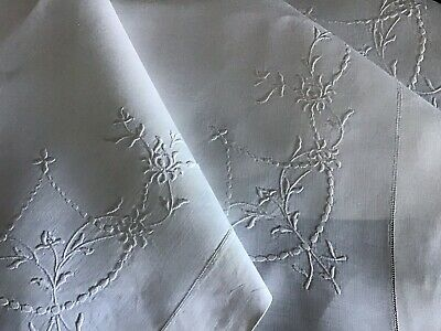 Exquisite Antique Irish Linen Tablecloth ~ Beautiful Hand Embroidered Whitework