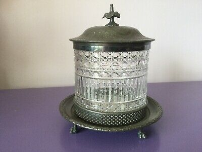 Beautiful Vintage. Silver Plate & Cut Glass Biscuit Barrel.Tea Caddy, Sweet Jar.