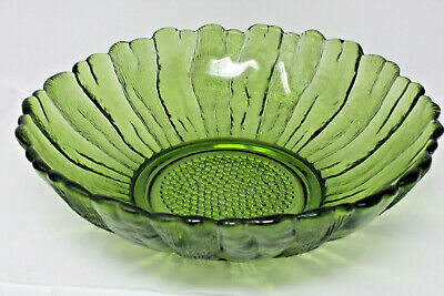 """Vintage Retro Green INDIANA Glass Flower Large Bowl 10.5"""" across X 3.25"""" tall"""