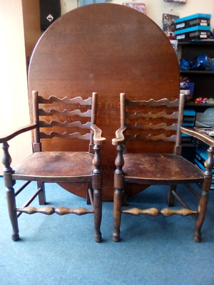 Pair of Antique ladder back chairs from 1840's early Victorian country style