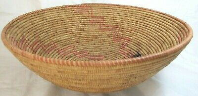 Early LARGE Native American GEOMETRIC Coiled Basket 15x5.5 Apache/Pima/ Papago
