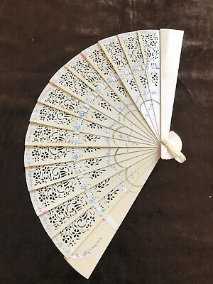 Antique 1900s Hand Brise Fan Ivory Celluloid Hand Painted Floral Design