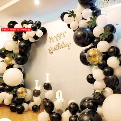 Graduation Party Decoration 130Pcs10In Black And White Balloon Garland Arch Kit,
