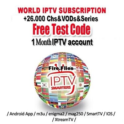 1 Month IPTV Subscription Full HD Worldwide Chs&VODs Firestic,MAG,IOS,SmartTV...