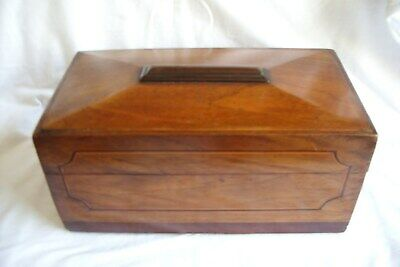Antique 19th Century Mahogany Two Compartment Tea Caddy.