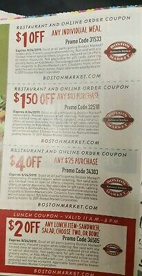 ❤NEW (2 SHEETS) 8 BOSTON MARKET COUPONS Restaurant+Online 7/20/19 ~ SAVE $16