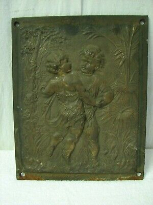 Antique Cast Iron Ornate Victorian Fireplace Insert Summer Cover Boy/Girl Relief