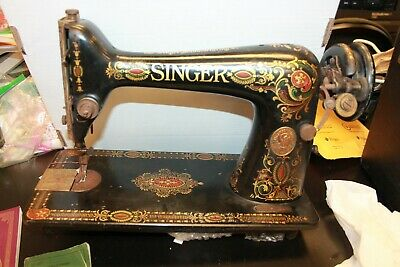 VINTAGE Antique Iron Hand Crank SINGER Sewing Machine Red yellow accents 1910
