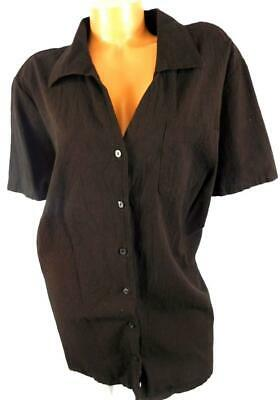 126a873129 White stag brown women's plus size patch pockets crinkle button down top 4X