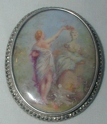 Antique Vintage Sterling Silver Marcasite Miniature Painting Brooch Pin