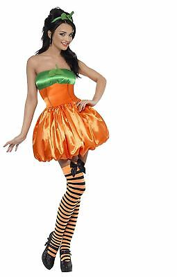 Smiffys Women's Pumpkin Costume Dress And Headpiece Orange