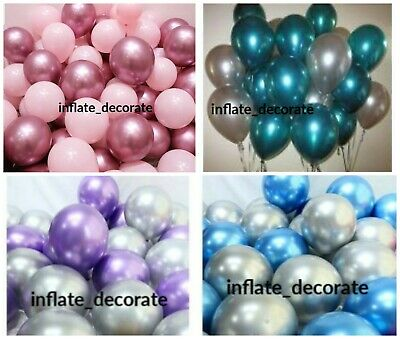 "10"" Metallic Pearl Chrome Latex Balloons for Wedding Birthday Party 10-30PCS UK"