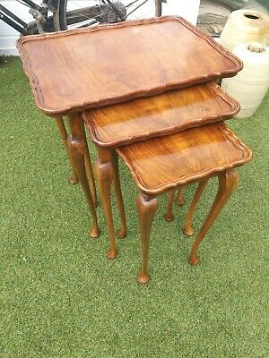 Antique Art Deco Burr Walnut Nest Of Tables Cabriole Legs Beautiful Patina