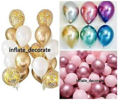 "10"" METALLIC BALOONS Quality CHROME LATEX BALLOONS BIRTHDAY BALON PARTY UK SELER"