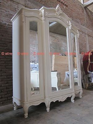 BESPOKE Large Armoire wardrobe with mirrors Rococo solid mahogany wood white