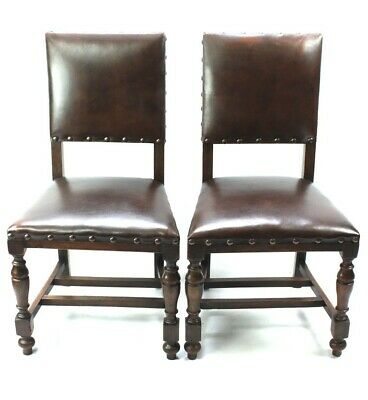 Pair of Vintage Oak and Leather Chairs - FREE Shipping [5348 B]