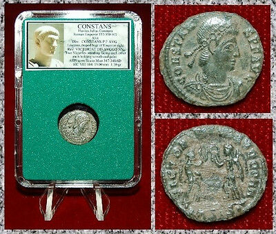 Ancient Roman Empire Coin Of CONSTANS Two Victories Holding Wreaths and Palms