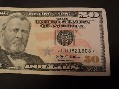 2009 $50 Fifty Dollar Bill STAR Note U.S. Currency lower serial# JG 00821808