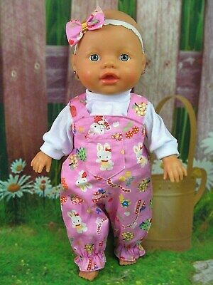 Dolls clothes for 32cm Baby Born/Baby Alive Doll~PINK~RABBIT~BEAR~FRUIT OVERALL