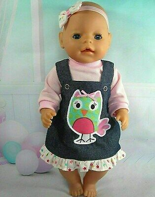 """Dolls clothes for 17"""" Baby Born~Cabbage Patch Doll~PRETTY OWL DENIM PINAFORE SET"""