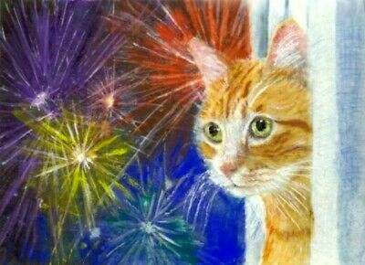 BCB Orange Tabby Cat July 4 Fireworks Original Painting ACEO Golden Paws Charity