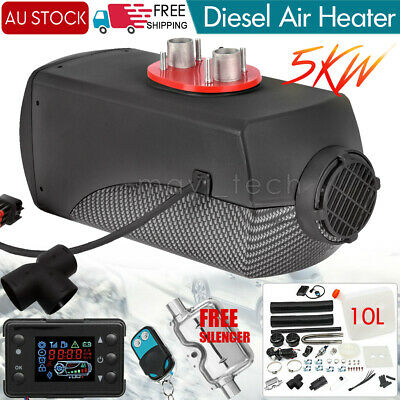 5KW 12V AU Diesel Air Heater Silencer Fuel LCD Thermostat Trucks Trailer Caravan