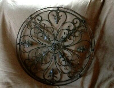Wrought Iron Metal Wall Art Round Hanging Farmhouse Garden Vintage Style 20""