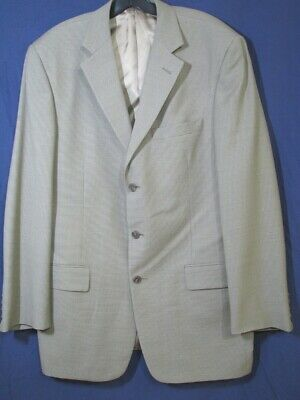 TALLIA UOMO Beige/Taupe MINI-CHECK JACKET Blazer Sport Coat WORSTED WOOL 42 L