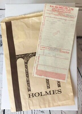 Original DH Holmes Department Store Bag and Receipt 1988 New Orleans Nostalgia