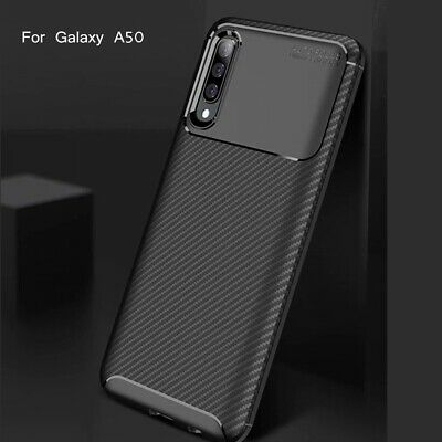 For Samsung A20E Case A50 A70 A30 Luxury Soft TPU Rubber Carbon Fiber Slim Cover