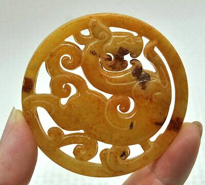 Chinese ancient old hard jade hand-carved pendant necklace ~dragon  42