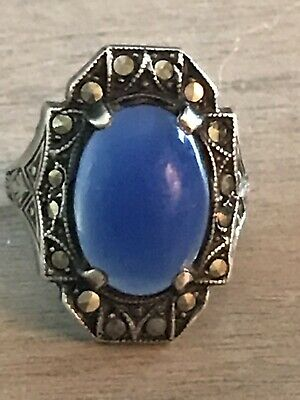 ANTIQUE Art Deco STERLING LARGE BLUE CHALCEDONY & MARCASITE RING ORNATE